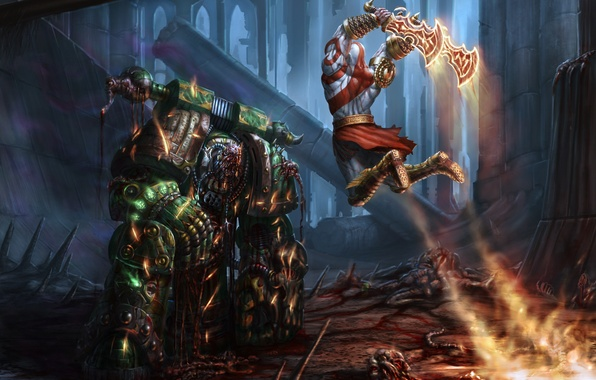 Picture weapons, blood, art, armor, battle, men, Kratos, God of War, PlagueMarine