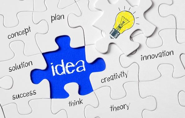 Picture light bulb, surface, mosaic, creative, the idea, positive, designer, item, puzzle, puzzle, puzzle, wallpaper., found, …