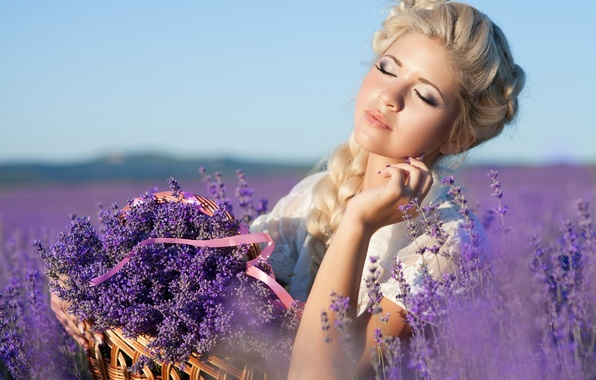 Picture girl, nature, basket, makeup, hairstyle, blonde, lavender, lavender field