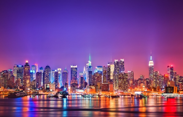 Picture the city, New York, USA, new york, Manhattan, the Hudson river, Jersey
