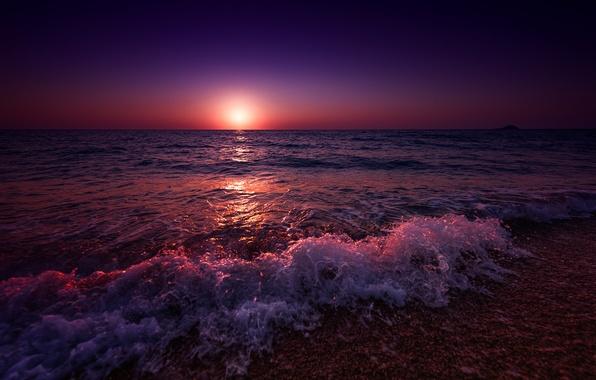 Picture the sky, the sun, sunset, shore, coast, the evening, Greece, surf, sky, sunset, evening, sun, …