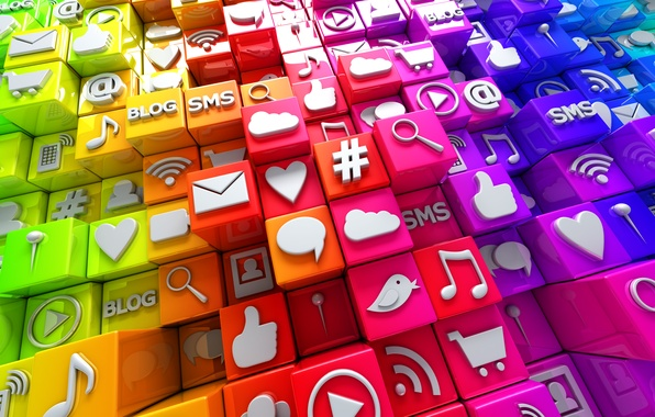 Photo wallpaper media, social, icons, cubes, social network, icons, colorful, cubes, Internet