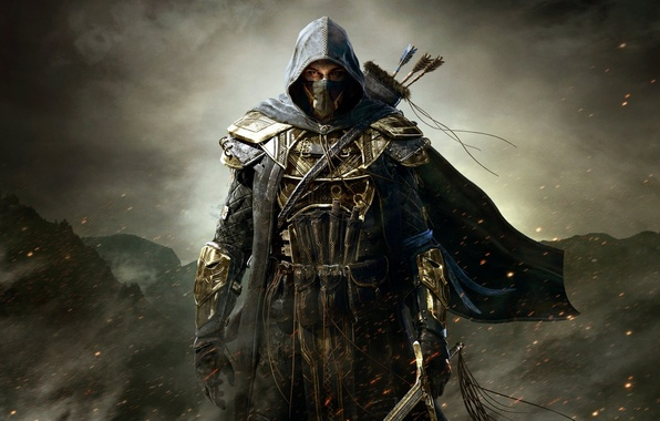 Picture mountains, clouds, sword, warrior, hood, armor, arrows, killer, assassin, Bethesda Softworks, assassin's, The Elder Scrolls …