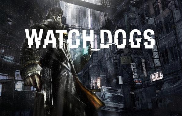 Picture the city, gun, weapons, rain, male, Ubisoft, 2013, Watch Dogs, Ubisoft Montreal, Watchdogs, Ubisoft Reflections