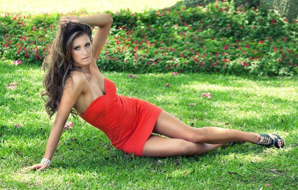 Picture girl, red, dress, brunette, legs