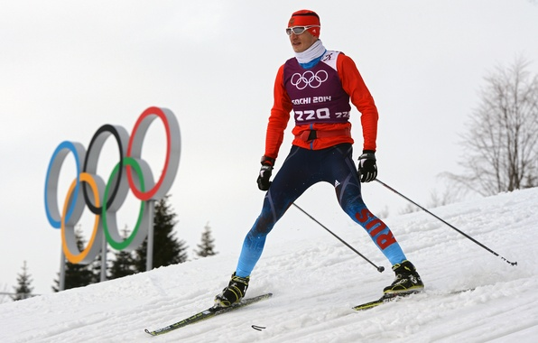 Picture snow, Russia, skier, the Olympic rings, Sochi 2014, The XXII Winter Olympic Games, Sochi 2014, …