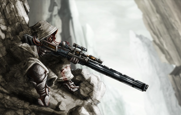 Picture rocks, wire, art, hood, sniper, rifle, sniper
