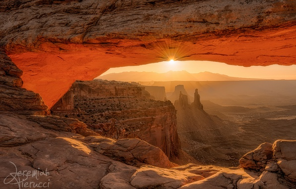 Picture rays, light, rocks, morning, Utah, USA, Mesa Arch, the sun, state, natural arch, Canyonlands national …