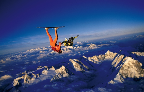 Picture the sky, clouds, snow, mountains, parachute, container, Board, skydivers, extreme sports, parachuting, headdown, skysurfing, camera …