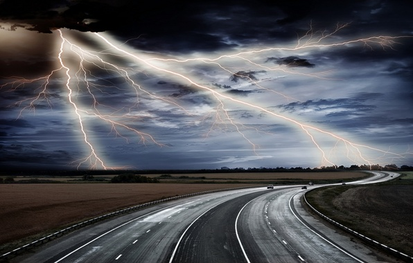 Picture ROAD, TRACK, HORIZON, The SKY, PLAIN, CLOUDS, CATEGORY, FIELD, LIGHTNING
