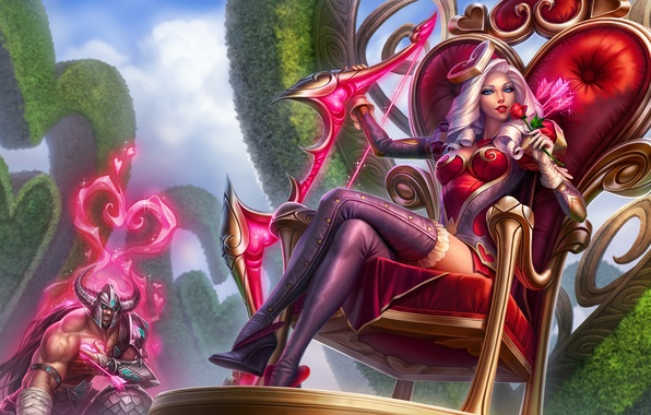 Picture girl, the throne, League of Legends, Ashe, Frost Archer