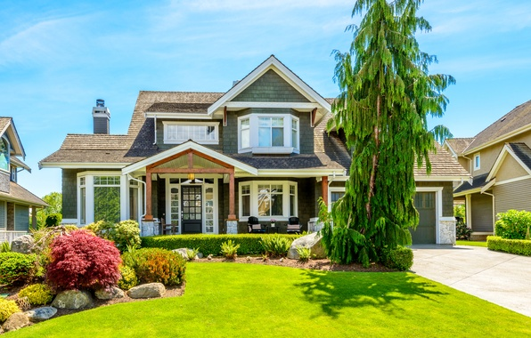Picture greens, summer, grass, the sun, flowers, design, house, tree, lawn, mansion, the bushes