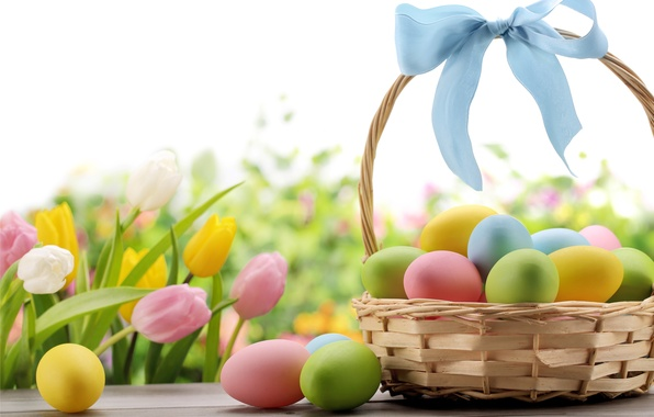Picture flowers, basket, eggs, Easter, tape, tulips, bow, flowers, spring, Easter, eggs