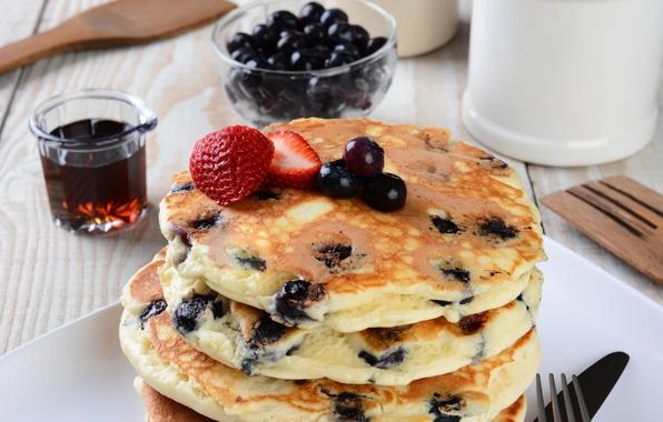 Picture berries, blueberries, pancakes, cakes, berries, breakfast, pancakes