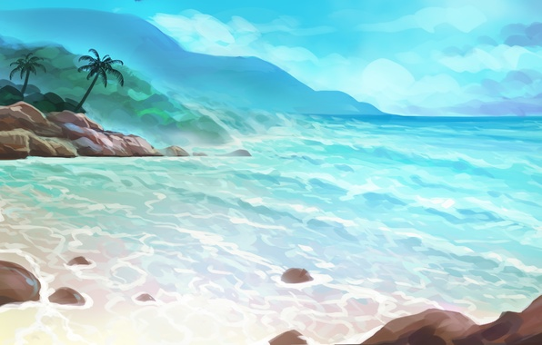 Picture sea, summer, palm trees, island, art, painted landscape