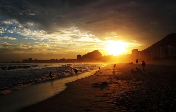 Photo wallpaper beach, sunset, rio de janeiro, copacabana