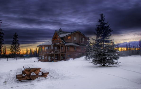 Picture forest, the sky, snow, trees, sunset, clouds, tree, Winter, the evening, wooden, house, twilight, table