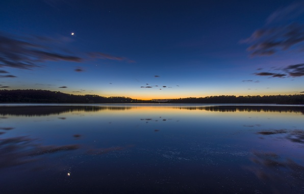 Picture landscape, nature, lake, twilight, Australia, Sydney, Narrabeen Lake