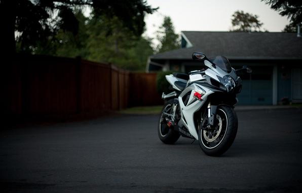 Picture white, trees, house, white, suzuki, bike, Suzuki, supersport, gsx, gmccar