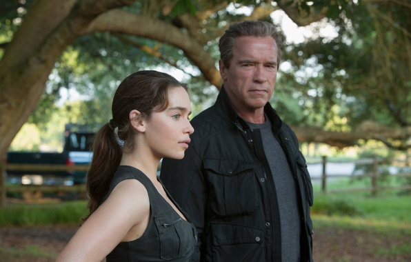 Picture fiction, frame, Arnold Schwarzenegger, Emilia Clarke, Emilia Clarke, Arnold Schwarzenegger, Terminator: Genisys, Terminator: Genesis