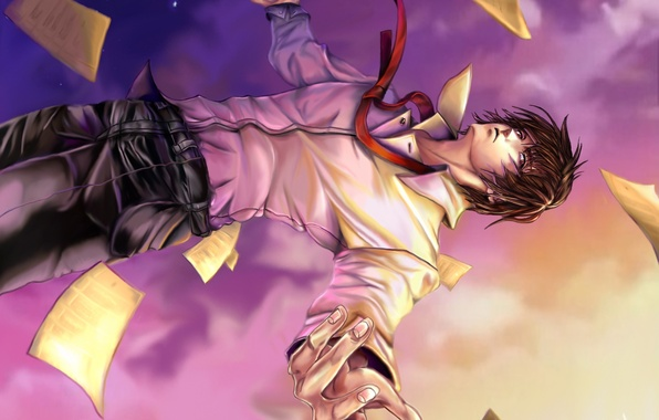Picture the sky, drop, art, leaves, guy, Death Note, Light Yagami