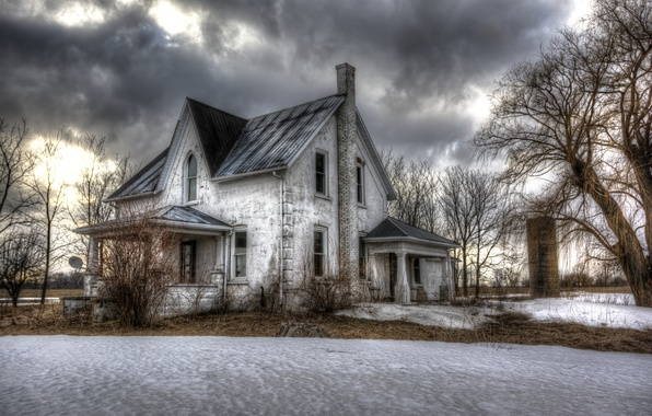 Photo wallpaper house, snow, winter