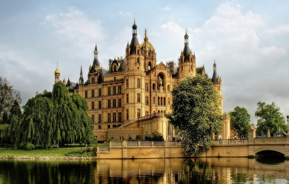 Picture water, trees, castle, Germany, Schwerin