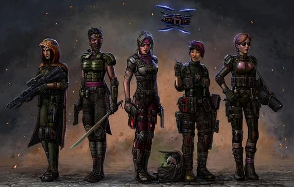 Picture gun, fiction, girls, robot, sword, art, soldiers, squad, ammunition, XCOM 2
