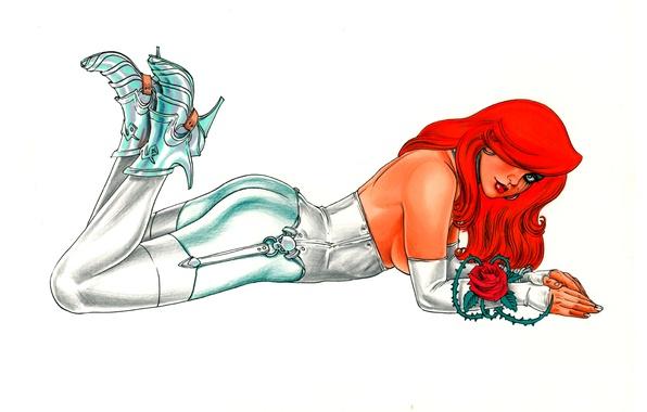 Picture look, girl, rose, comic, Joseph Michael Linsner