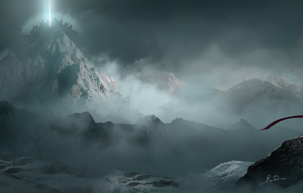 Picture the sky, girl, clouds, mountains, nature, fog, anime, scarf, art, sangatsu kokonoka
