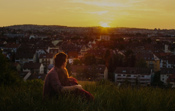 Picture greens, grass, girl, love, sunset, city, the city, heat, background, stay, Wallpaper, romance, mood, woman, ...
