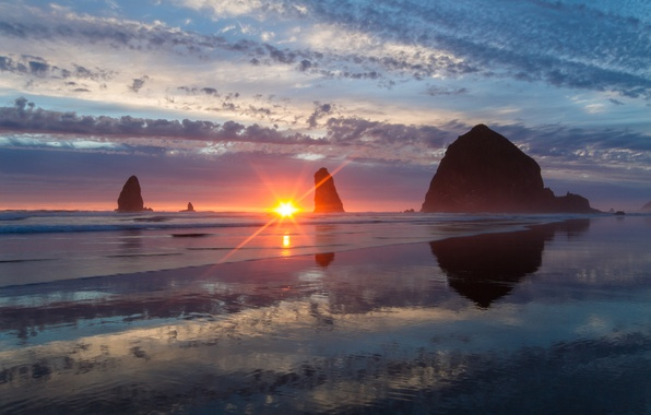 Picture sunset, rocks, coast, Oregon, Oregon, Pacific Ocean, The Pacific ocean, Haystack Rock, Cannon Beach