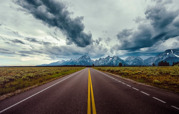 Picture road, field, the sky, clouds, mountains, horizon