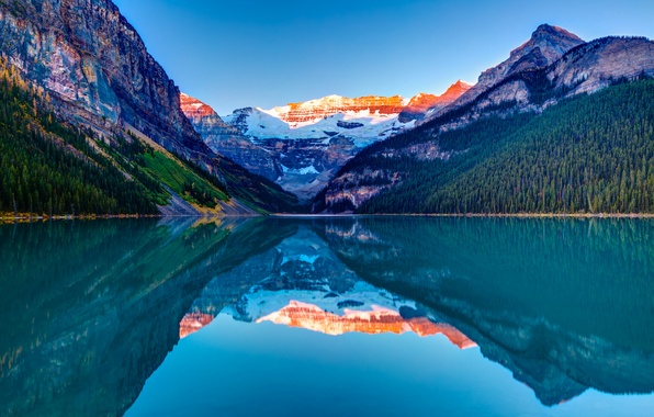 Picture the sky, snow, trees, sunset, mountains, lake