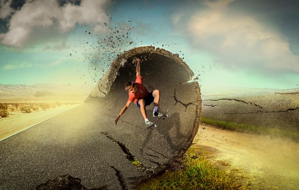 Picture asphalt, wave, guy, skate, Ride the Wave