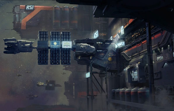 Picture space, ships, station, mechanisms, Star Citizen