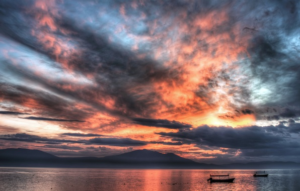 Picture sea, the sky, water, clouds, sunset, boats, Mexico