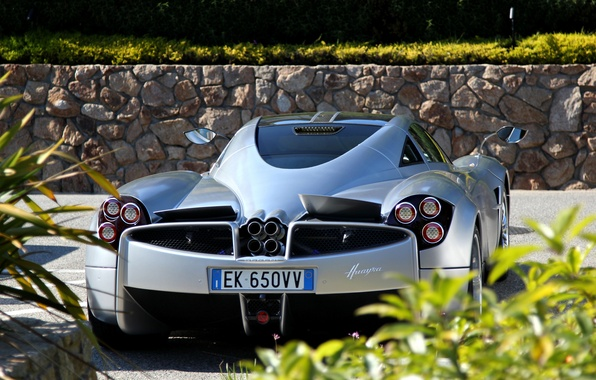 Picture grass, silver, silver, supercar, grass, Pagani, supercar, back, Pagani, wire, to huayr