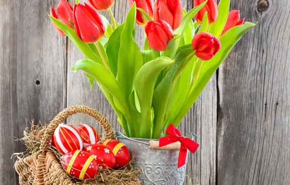 Picture eggs, Easter, tulips, red, flowers, tulips, eggs, easter, basket