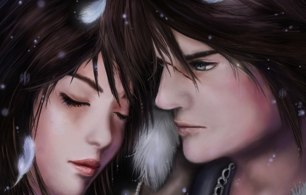 Picture girl, feathers, face, guy, closed eyes, Squall, Final Fantasy VIII, Rinoa