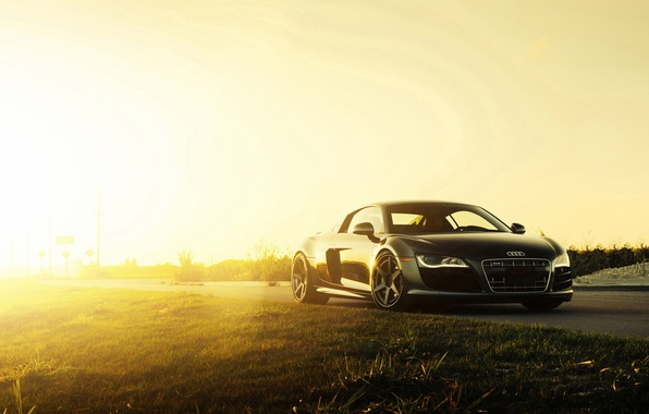 Picture Audi, Black, Sun, V10, Supercar, Wheels, ADV.1, 2015
