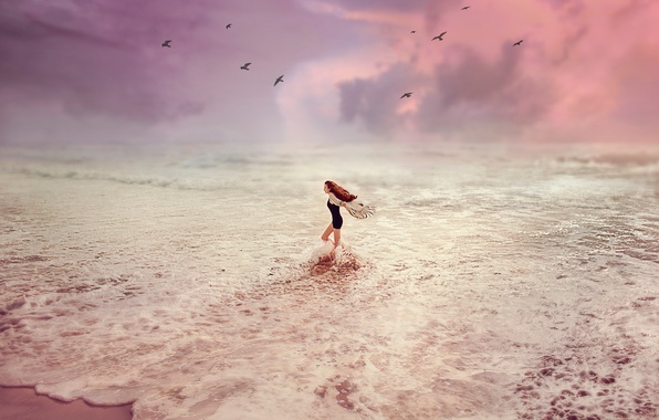 Picture Sunset, Sea, Girl, Wave, Birds