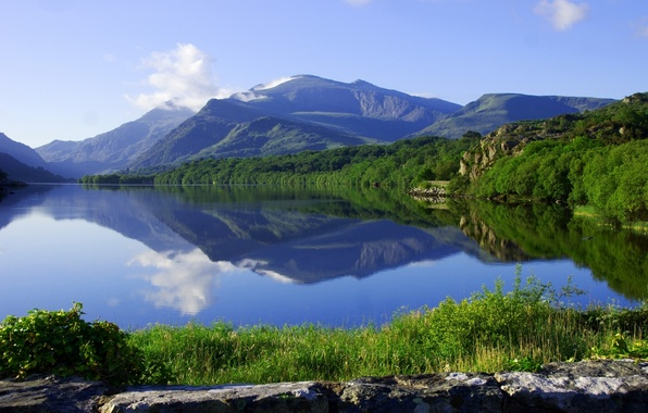 Picture forest, mountains, lake, reflection, England, England, Wales, Wales, Snowdonia, Snowdonia, Llyn Padarn