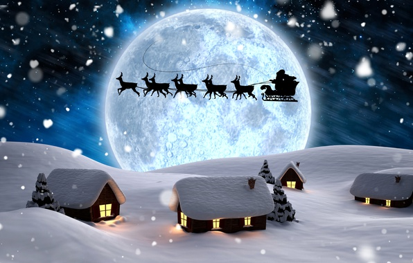 Picture winter, snow, trees, snowflakes, night, lights, rendering, the moon, New year, houses, sleigh, Santa Claus, …