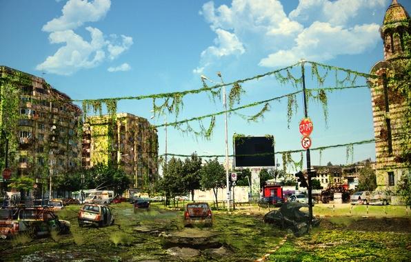 Picture machine, the city, the ruins, postapokalipsis, art