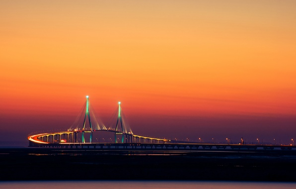 Picture bridge, the city, lights, Korea, Incheon, by Yoonki Jeong