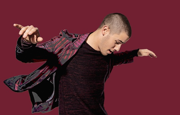 Photo wallpaper pose, background, photoshop, t-shirt, photographer, actor, shirt, photoshoot, singer, Saturday Night Live, Nick Jonas, for ...