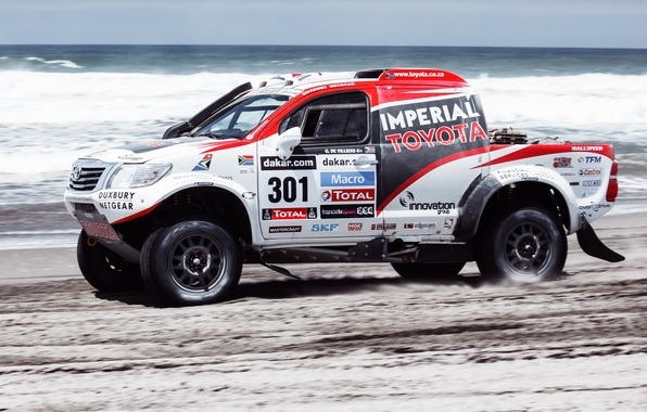 Photo wallpaper Sand, Sea, Beach, Auto, White, Sport, Machine, Speed, Race, Toyota, Rally, Dakar, SUV, Rally, Side ...