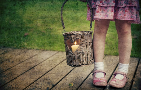 Picture style, candle, girl, basket
