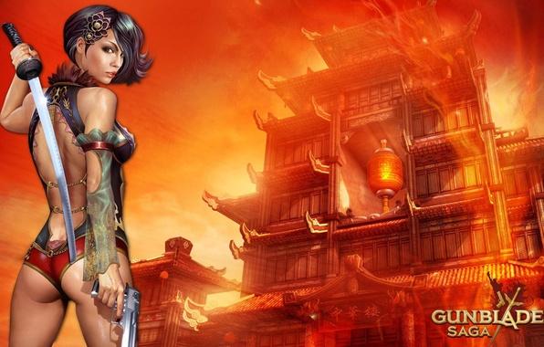 Picture girl, gun, weapons, sword, katana, girl, sword, gun, game wallpapers, Gunblade saga